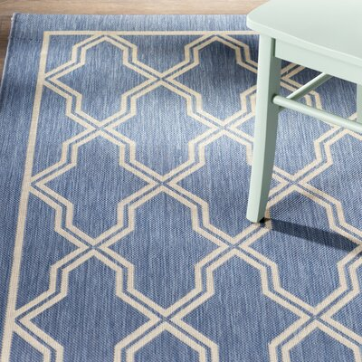 Arnot Blue/Cream Geometric Indoor/Outdoor Area Rug Rug Size: Rectangle 311 x 55