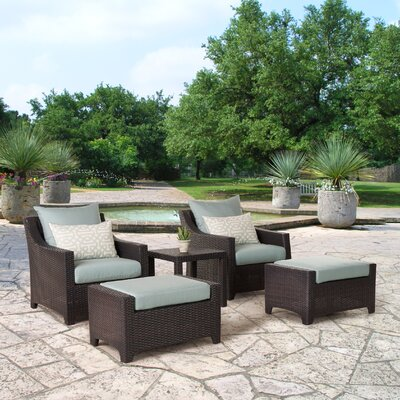 Northridge 5 Piece Deep Seating Group with Cushions Fabric: Spa Blue