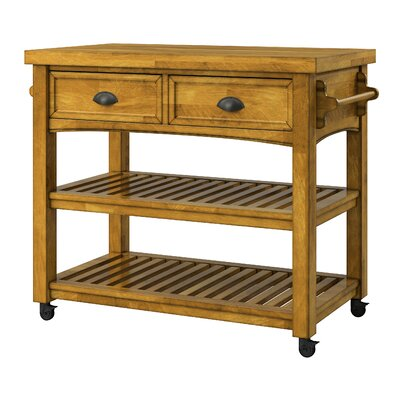 Fortville Kitchen Cart with Wood Base Finish: Oak