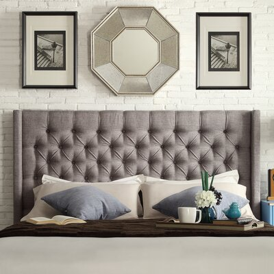 Crawley Upholstered Wingback Headboard Size: King, Upholstery: Gray
