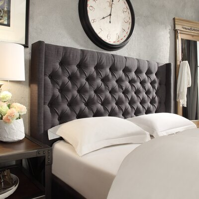 Crawley Upholstered Wingback Headboard Upholstery: Dark Gray, Size: Full