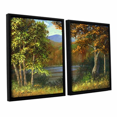 'Mountain Pond' 2 Piece Framed Painting Print Set Size: 24