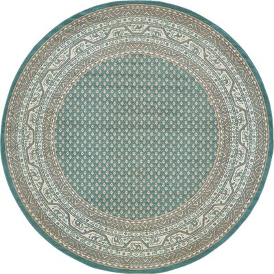 Crest Teal Green Area Rug Rug Size: Round 5