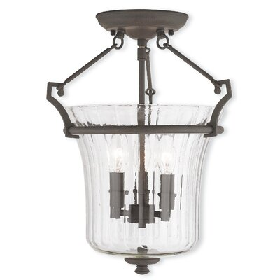 Bolindale 3-Light Semi-Flush Mount Finish: Brushed Nickel