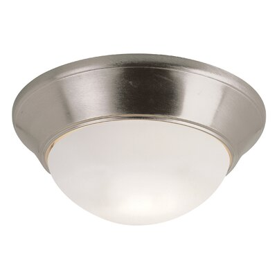 Lauren 1-Light Flush Mount Finish: Brushed Nickel, Size: 7 H x 16 W x 16 D