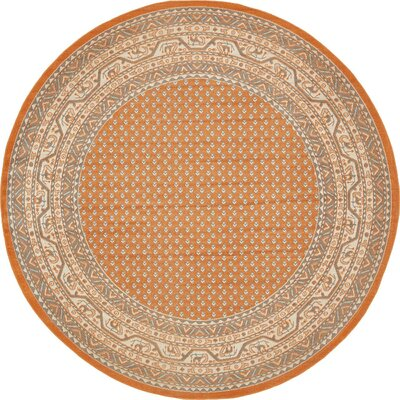 Baitz Orange Area Rug Rug Size: Round 5