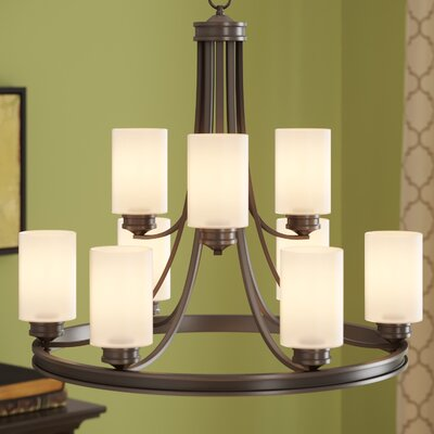 Russell Farm 9-Light Shaded Chandelier Shade Color: Opal