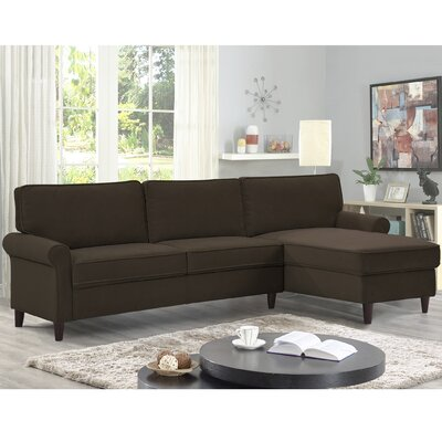 Miltown Brick And Barrel Reversible Sectional Upholstery: Chocolate
