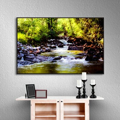 Woodland Brook Framed Painting Print on Wrapped Canvas