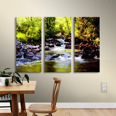 Woodland Brook 3 Piece Painting Print on Wrapped Canvas Set