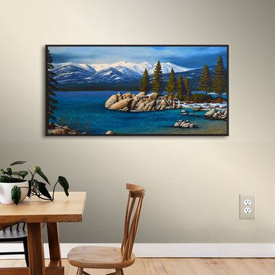Winter at Sand Harbor Lake Tahoe Framed Painting Print Size: 12