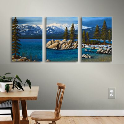Winter at Sand Harbor Lake Tahoe 3 Piece Painting Print on Wrapped Canvas Set Size: 18