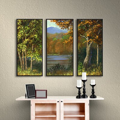 Mountain Pond 3 Piece Framed Painting Print on Canvas Set