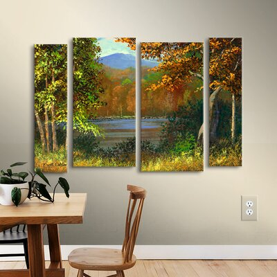 Mountain Pond 4 Piece Painting Print on Wrapped Canvas Set