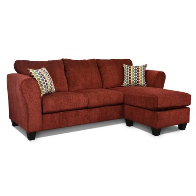 Dominey Sectional Upholstery: Blood Red / Button Down Multi