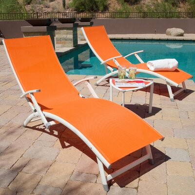 Northridge Folding Chaise Lounge And Table Set Fabric: Mellon Orange