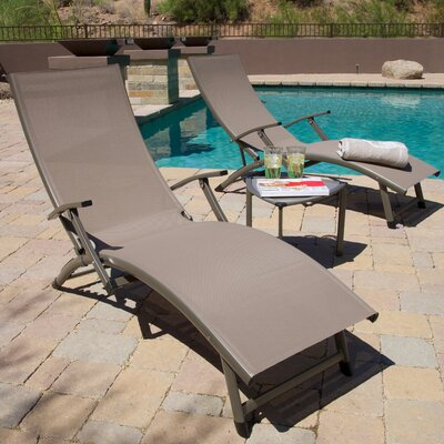 Northridge Folding Chaise Lounge And Table Set Fabric: Taupe
