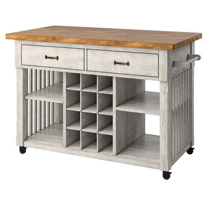 Fortville Kitchen Cart with Wood Base Finish: Antique White