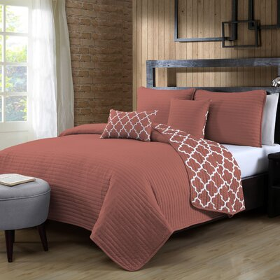 Louise 5 Piece Reversible Quilt Set Color: Coral, Size: Queen