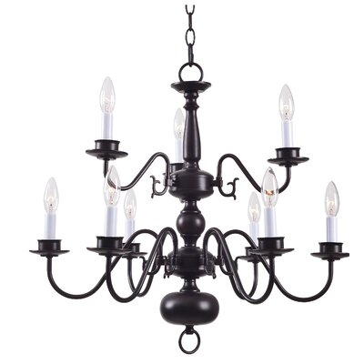 Nielson 9-Light Candle-Style Chandelier Finish: Polished Brass