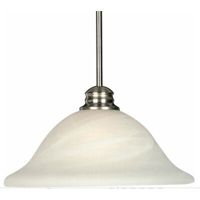 Elsner 1-Light Pendant Finish/Shade Color: Marble/Satin Nickel