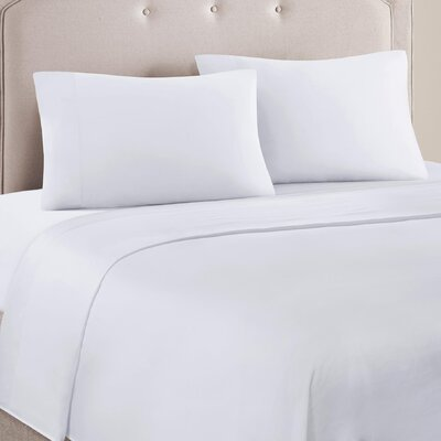 4 Piece Ashbury Cotton Blend Sheet Set Size: Full, Color: White
