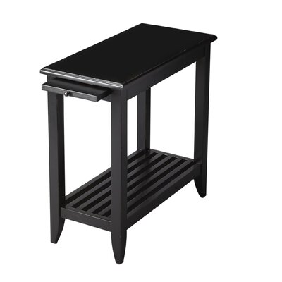 Adalaide End Table With Storage  Color: Distressed Black Licorice