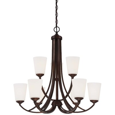 Parish 9-Light Etched White Shaded Chandelier