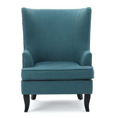 Amber Oak Wingback Chair Upholstery: Teal