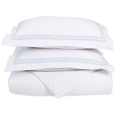 Sheatown Reversible Duvet Set Color: White/Blue, Size: Full / Queen