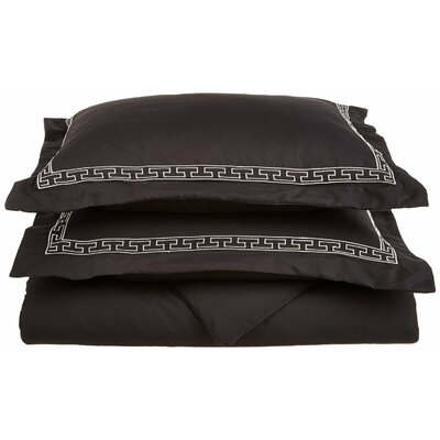 Sheatown Reversible Duvet Set Size: Full / Queen, Color: Black/Gray