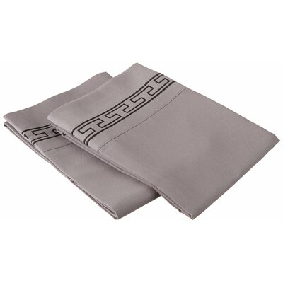 Sheatown Solid Regal Embroidery Pillowcase Color: Gray/Black, Size: King