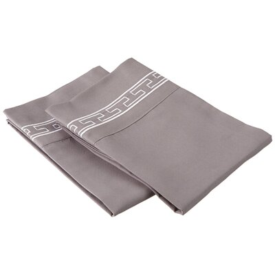 Sheatown Solid Regal Embroidery Pillowcase Size: Standard, Color: Gray/White