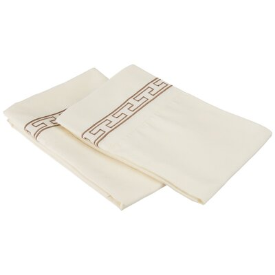 Sheatown Solid Regal Embroidery Pillowcase Size: Standard, Color: Ivory/Taupe