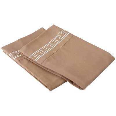 Sheatown Solid Regal Embroidery Pillowcase Color: Taupe/Ivory, Size: King