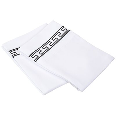 Sheatown Solid Regal Embroidery Pillowcase Size: Standard, Color: White/Black