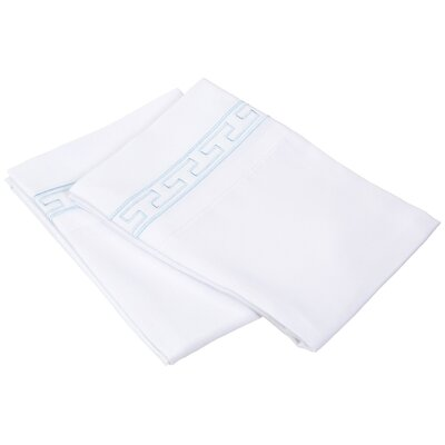 Sheatown Solid Regal Embroidery Pillowcase Size: Standard, Color: White/Blue