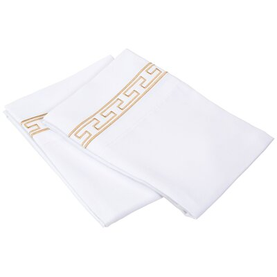 Sheatown Solid Regal Embroidery Pillowcase Color: White/Gold, Size: King