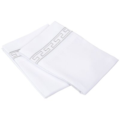 Sheatown Solid Regal Embroidery Pillowcase Size: Standard, Color: White/Gray