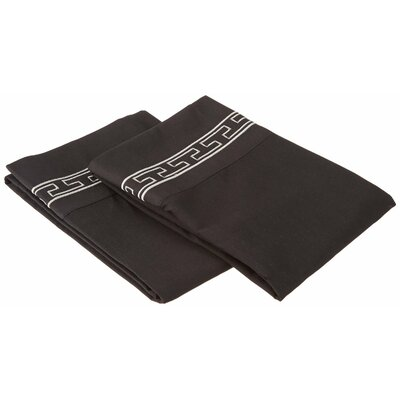 Sheatown Solid Regal Embroidery Pillowcase Size: Standard, Color: Gray/Black