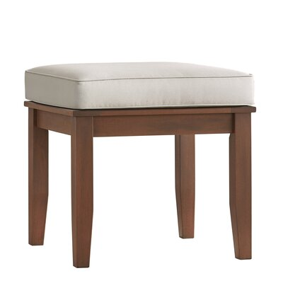 Brook Hollow Wood Side Table Fabric: Beige, Finish: Brown