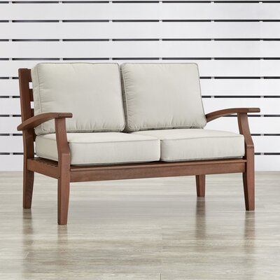 Valencia Patio Loveseat Fabric: Red, Finish: Brown