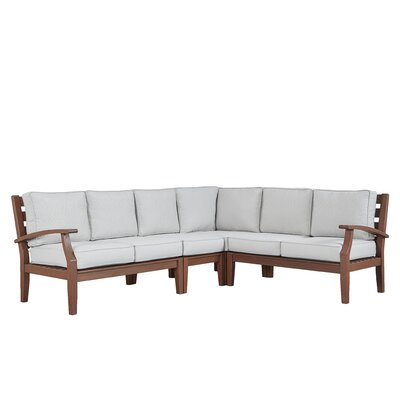 Brook Hollow Sectional with Cushion Fabric: Spa Blue, Finish: Brown