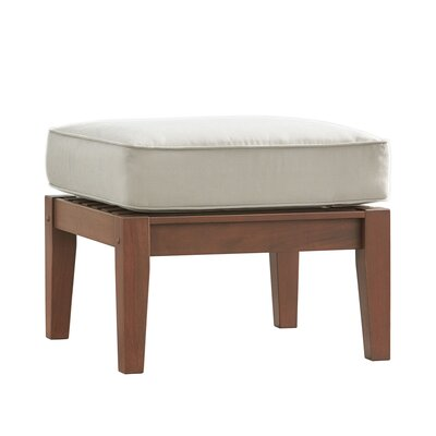 Brook Hollow Ottoman Fabric: Beige, Finish: Brown