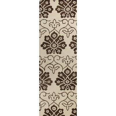 Davidson Hand-Tufted Ivory/Chocolate Area Rug Rug Size: Runner 26 x 8
