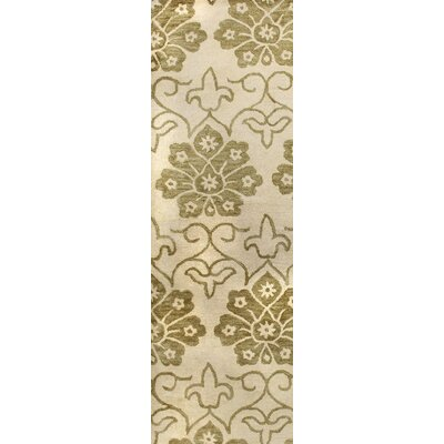 Peabody Hand-Tufted Ivory/Gold Area Rug Rug Size: Runner 26 x 8