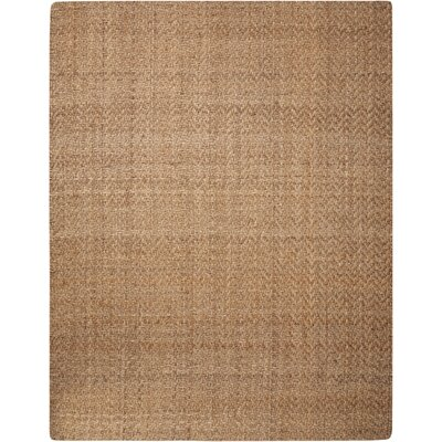 Basketweave Hand-Woven Brown Area Rug Rug Size: 5 x 7