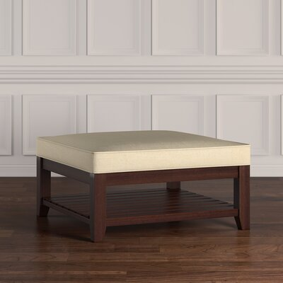 Back East Cross Cushion Ottoman Color: Beige, Base Finish: Natural