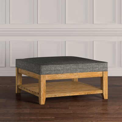 Back East Cross Cushion Ottoman Upholstery: Gray, Base Finish: Natural