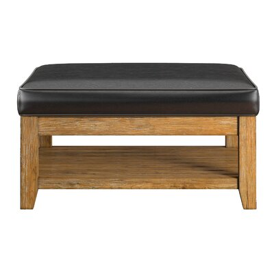 Back East Cross Cushion Ottoman Base Finish: Natural